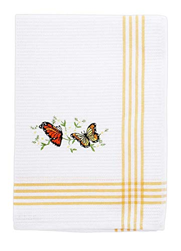 DEI Embroidered Cotton Waffle Hand Towel - Butterfly Towel Embroidered Hand