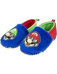 Super Mario Slippers for Kids, Mario and Luigi Nintendo Slippers,Slip-On Slippers, Plush, Little Kid/Big Kid Sizes 11 to 5