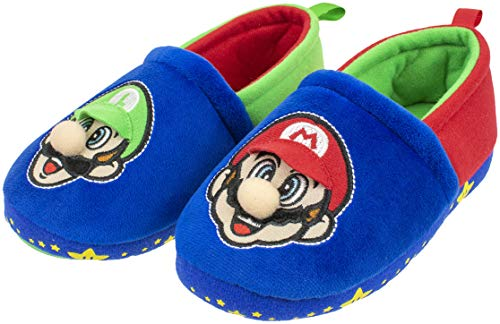 Super Mario Slippers for Kids, Mario and Luigi Nintendo Slippers,Slip-On Slippers, Little Kid/Big Kid Sizes,Blue, Size 11-12 (Mario Plush Slippers)