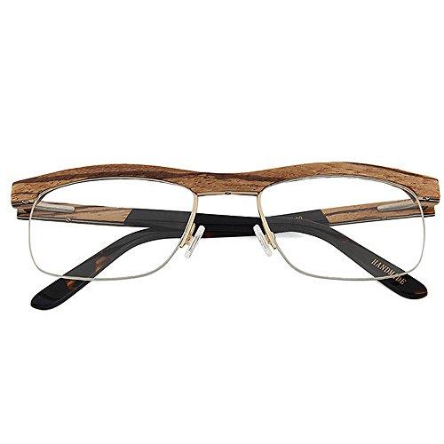 Hechas artísticas Mano clásicas de Madera Gafas Semi Alta Gu Ocio sin Gafas Gafas Peggy Calidad de cuadradas Hombres Montura Gafas a Marrón Marrón para sin Color de Montura wz0xHqwTv