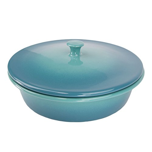 American Bakeware 1.75 qts. Round Covered Casserole - Non Stick Ceramic Stoneware - Heat Resistant to 400 °F - No Metals or other Harmful Materials - Safe for Oven, Microwave, Dishwasher - Made in USA