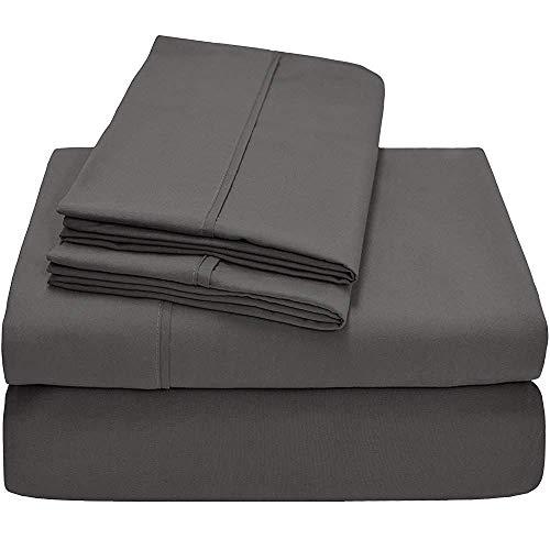 HR Luxury Linen 100% Cotton Split-Top-California King (Adjustable Cal King Bed Size Sheets) 300TC, Solid Dark Grey, Sateen Weave, 18 inch Deep Pocket, 4PC Bed Sheet Set