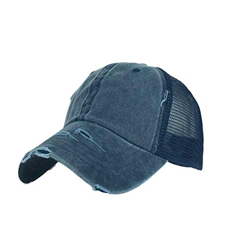 (XibeiTrade Women Ponytail Baseball Hat Distressed Retro Washed Cotton Twill Mesh Plain Cap (Blue))