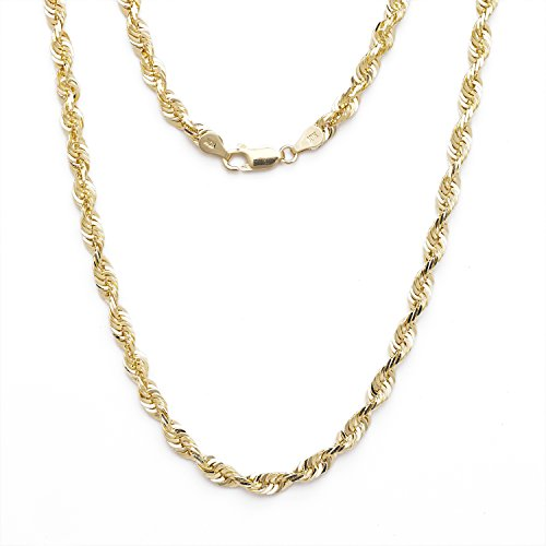 26 Inch 10k Yellow Gold Solid Extra Light Diamond Cut Rope Chain Necklace 2.25mm by SL Chain Collection