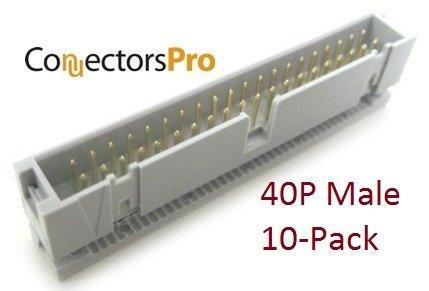 (Connectors Pro Pc Accessories 10-PACK 2X20 40P Dual Rows 2.54mm SHROUDED IDC Male HEADER, 40 Pins IDC Crimp Connectors)