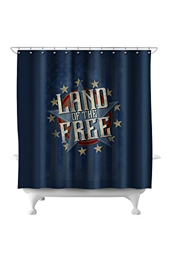 Americana - Land of the Free Star (71x74 Polyester Shower Curtain)