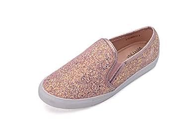 Mila Lady Cornelia Comfortable Casual Sparkly Glitter Slip On Fashion Sneakers for Women Gold Size: 5.5