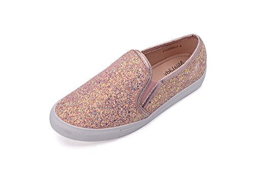 Mila Lady Cornelia Women Canvas Slip On Tribal Pattern Fashion Sneakers, Rose Gold