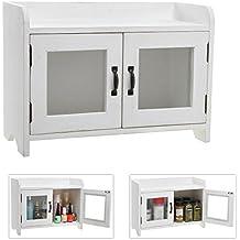 Decorative Shabby Chic White Wood Mini Kitchen Cupboard / Spice Cabinet / Bathroom Storage Cabinet w/ Glass Windows