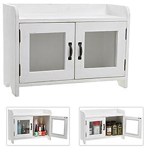 Decorative Shabby Chic White Wood Mini Kitchen Cupboard / Spice Cabinet /  Bathroom Storage Cabinet W/ Glass Windows Images
