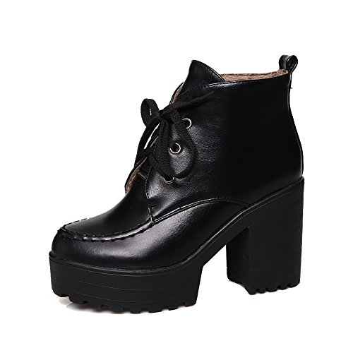 AgooLar Women's Soft Material Lace-up Round Closed Toe High-Heels Ankle-high Boots Black 7HDyuG
