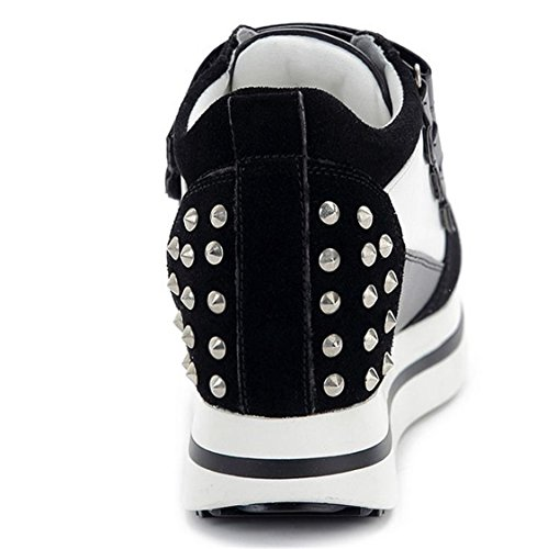 Velcro Sport Frauen Maedchen Sport Campus Hoch Plattform Rivet Idee Schuhe Sneakers Boots Schwarzer Samt