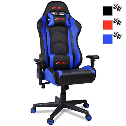 MC Star Silla Gaming PC Oficina Ergonomica Racing Carreras Silla de Escritorio Despacho para Gamer Profesional Regulable Reclinable Diseno con Cojin Lumbar y Almohada [Racing Azul]