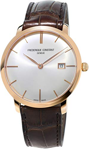 Frederique Constant Slimline Rose Gold Silver Dial Leather Strap Men's Watch FC306V4S4