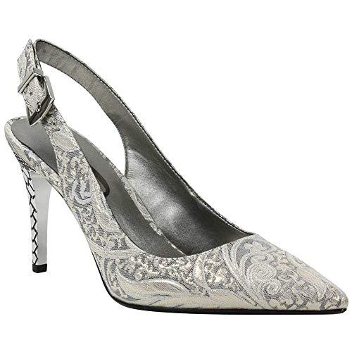 J.Renee Women's Alcudia-JJ Pump (Gray/Gold Floral, 10 M - Renee Heels Open J Toe