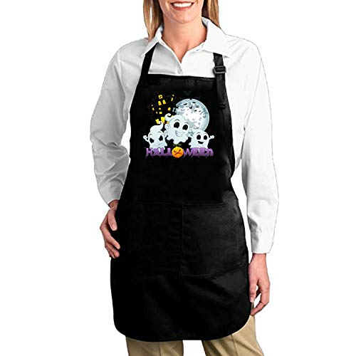 Dreamting Apron Chef Kitchen Cooking Apron Bib with Pockets Plus Size - Halloween-with-Scary-House ()
