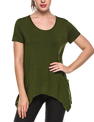 Qearal Womens Summer Asymmetrical T shirt