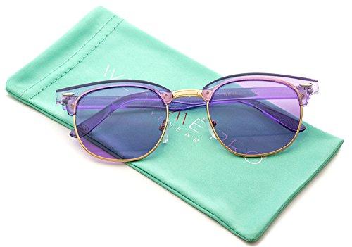 Transparent Frame Tinted Color Lens Semi-Rimless Style Chic Retro Sunglasses (Plastic Transparent Frame)