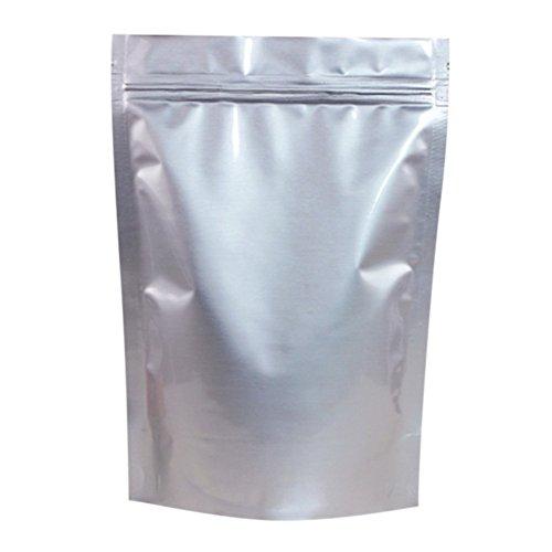 50 PCS Aspire Silver Aluminum Foil Stand Up Pouch, Mylar Ziplock Pouch, 1 OZ to 5 LB-13.75 x 19.75 x 4.75 inch/5 lb