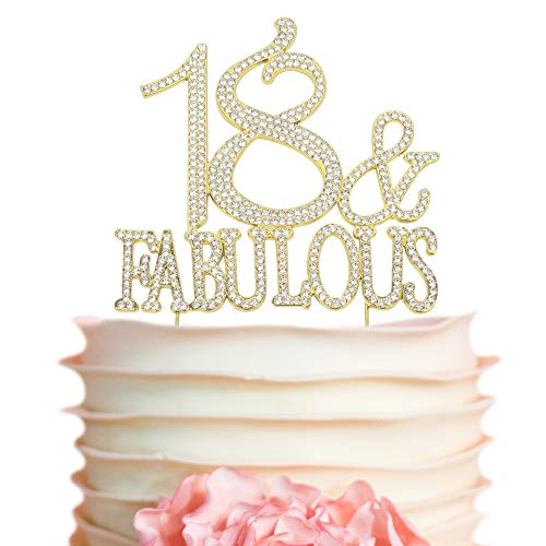 18 and Fabulous GOLD Cake Topper | Premium Sparkly Crystal Rhinestones | 18th Birthday Party Decoration Ideas | Quality Metal Alloy | Perfect Keepsak (18Fab -