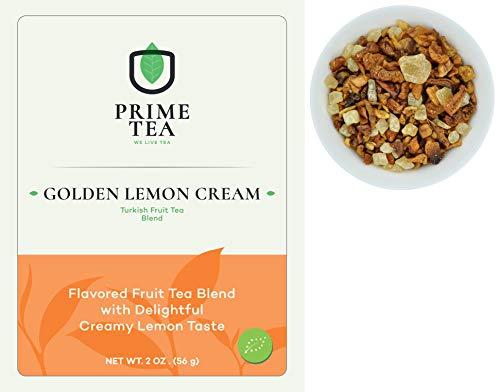 Free Samples Vitamins - TURKISH FRUIT TEA - 2 Ounce ≈ 20-30 Servings - Organic Vegan Natural Caffeine Free Loose Leaf Tisane Super Delicious Fruity Mix - Aroma Blast - Hot and Iced (Turkish Golden Lemon Cream, 2oz)