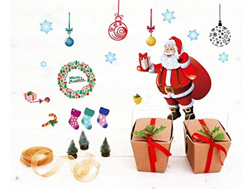 Yunqir Christmas Santa Window Wall Stickers Removable Wall Decals(Red) by Yunqir (Image #2)