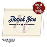 Baseball Thank You Card - Set of 20 Folded cards with envelopes