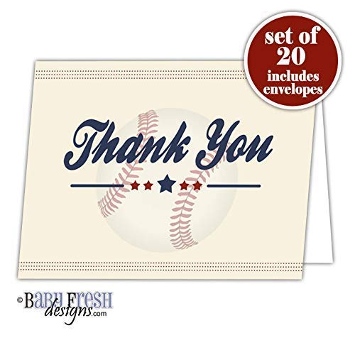 Baseball Thank You Card - Set of 20 Folded cards with envelopes