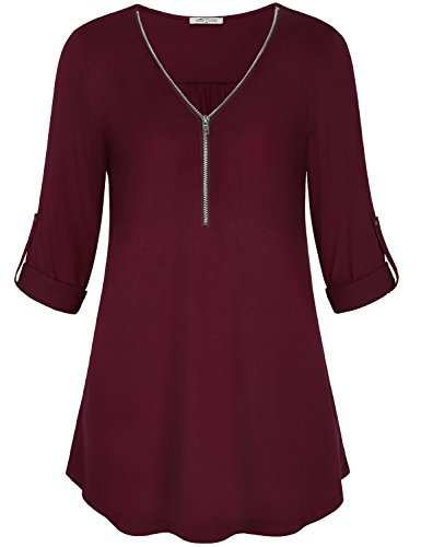 Varsity Roll (Tunic Shirt Women, SeSe Code Ladies Form-Fitting Flare Plain Long Sleeve Jersey Red With Roll Tabs Swing Tops Varsity Soft Surrouding Zip Up Sweater Fall Utility Lightweight Cute Trendy Blouses Wine M)