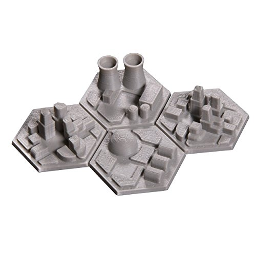 The Broken Token 3D Space Colony Hex Tiles for Terraforming Mars (4) by The Broken Token