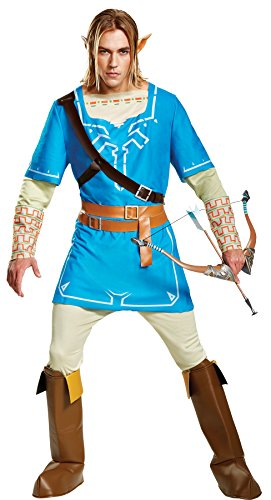 UHC Men's Link Breath of the Wild Deluxe Outfit Movie Theme Halloween Costume, STD (Link Costumes Cheap)