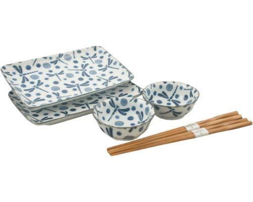 Japanese 6 Piece Dinnerware Set Blue and White Dragonfly Tombo Rectangular Sushi Plate Bowl Chopsticks Dinner Set for Two Gift Boxed Made In Japan (Dragonfly)