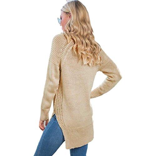 Tongshi Moda Las mujeres de manga larga larga de punto suéter de la tapa que hace punto V-cuello jersey floja ocasional Beige