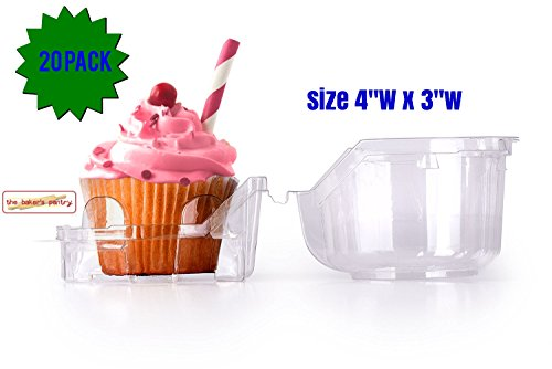 Single Cupcake Containers Individual Plastic Cupcake Boxes With Improved Closing Mechanism Plastic Individual cupcake boxes (20, 4''WxH'3)