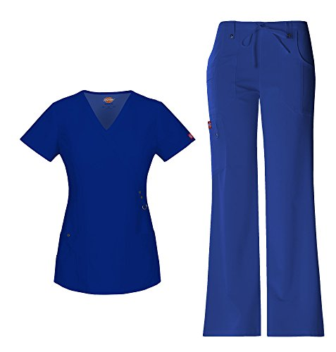 Dickies Xtreme Stretch Women's Mock Wrap Scrub Top 85956 Extreme Stretch Drawstring Scrub Pant 82011 Scrub Set (Galaxy Blue - Medium/Small Tall)