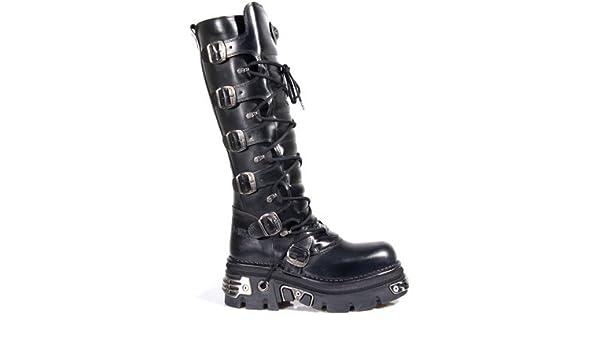 8a572c6f46b34 Amazon.com: New Rock Newrock 272 Metallic Black Goth Knee HIGH Zip Leather  Buckle Boots: Shoes