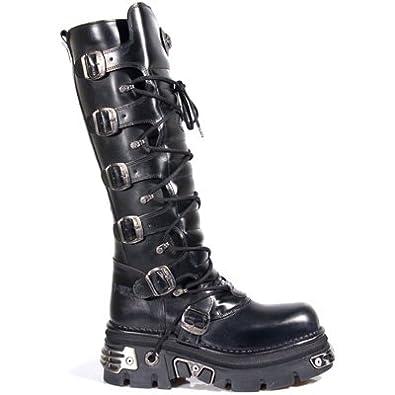 dc9ba880a2cfd New Rock Newrock 272 Metallic Black Goth Knee HIGH Zip Leather Buckle Boots  (UK 4