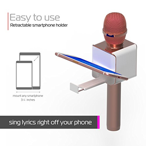 Large Product Image of PopSolo by tzumi – Professional Bluetooth Karaoke Microphone and Voice Mixer with Smartphone Holder – Great for Kids and Parties – Rose Gold