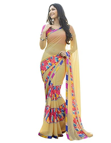 Jaanvi Fashion Women's Beige Georgette Printed Saree