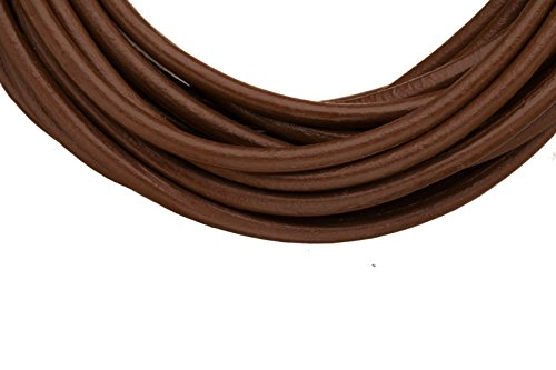 Full-grain leather cord 3mm round dark brown 5 yard