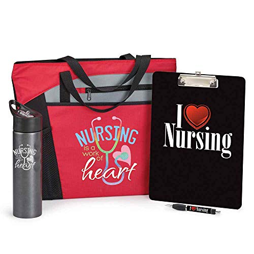 Wall Spout Mercer (Nursing Is A Work Of Heart Gift Set- Includes Tote Bag, Clipboard & Pen Set, And 25oz. Water Bottle)