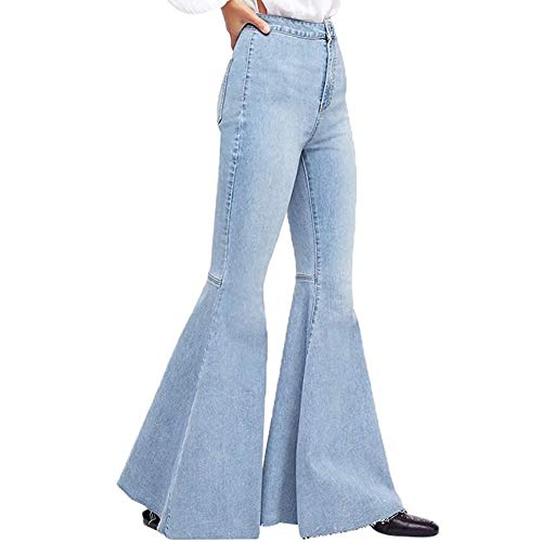 Orangeskycn Women Jeans Boho Comfy Stretchy Bell Bottom Flare Pants Light Blue