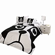 Dog Print Bedding Set, 100% Cotton White And Black Comforter Set, Adults Bed Line, Flat Sheet, Pillow case, Twin/Queen/King Size (CN Twin, Duvet Cover Set)