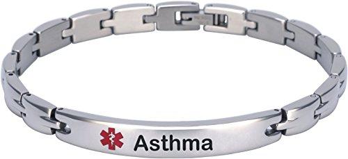 Elegant Surgical Grade Steel Medical Alert ID Bracelet (Women's, Asthma) (Asthma Medical Alert Bracelet)