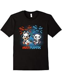 Multiplayer Gaming T-Shirt Cute Gamer Dog & Cute Gamer Panda