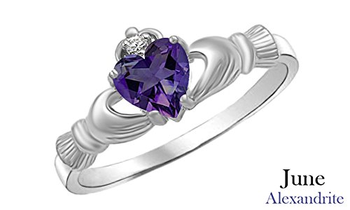 Heart Shape Simulated Alexandrite & Cubic Zirconia Claddagh Ring in 14k White Gold Over 925 Sterling Silver