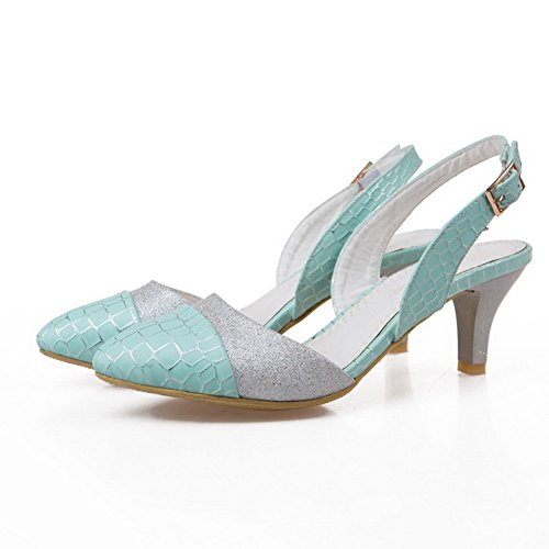 AmoonyFashion Womens Assorted Color Blend Materials Kitten-Heels Closed Toe Buckle Sandals Blue 7mpIm