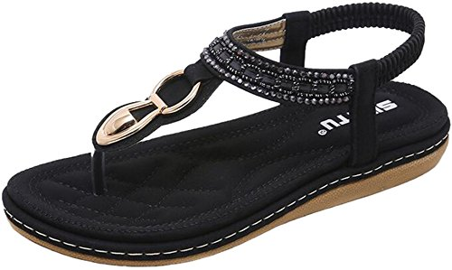 Strap Flop Thong Bohemian Flip Sandals Slingback Prime T Women's Black Glitter PPXID nqZB4X