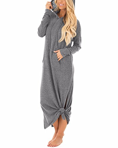 GIKING Women's Hooded Long Sleeve Split Pockets Sweatshirt Pullover Casual Long Dress Gray -
