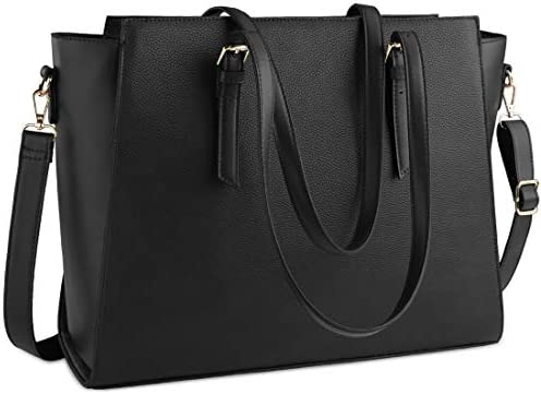 13-15 Inch Laptop Bag for Women,Durable Nylon Work Tote Bag with Professional Padded Pocket,Black Morning Glory